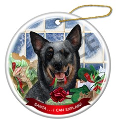 Australian Cattle Dog Santa I Can Explain Ornament - click for more colors
