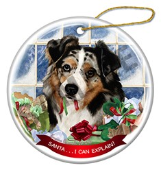 Australian Shepherd Santa I Can Explain  Dog Ornament - click for more colors