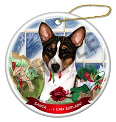 Basenji Santa I Can Explain Christmas Ornament - click for more colors