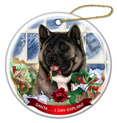 Akita Santa I Can Explain Christmas Ornament - click for more colors