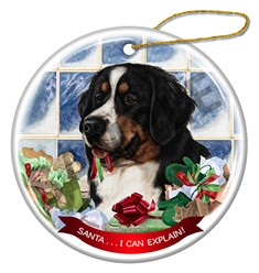Bernese Mountain Dog Santa I Can Explain Christmas Ornament