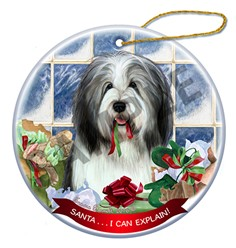 Bearded Collie Santa I Can Explain Christmas Ornament