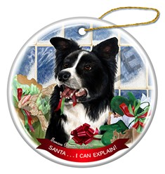 Border Collie Santa I Can Explain Christmas Ornament