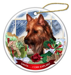Australian Terrier Santa I Can Explain Christmas Ornament