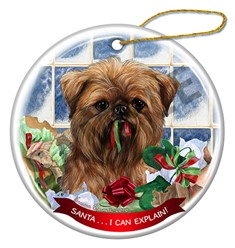 Brussels Griffon Santa I Can Explain Christmas Ornament