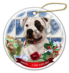 American Bulldog Santa I Can Explain Christmas Ornament - click for more colors