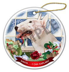 Bull Terrier Santa I Can Explain Christmas Ornament