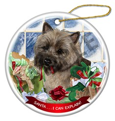 Cairn Terrier Santa I Can Explain Christmas Ornament - click for more colors