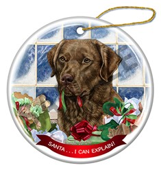 Chesapeake Bay Retriever Santa I Can Explain Christmas Ornament