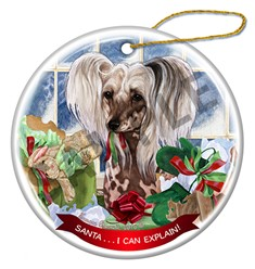 Chinese Crested Santa I Can Explain Christmas Ornament