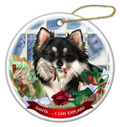 Chihuahua Longhair Santa I Can Explain Christmas Ornament - click for more color