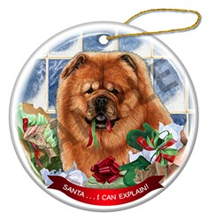 Chow Chow Santa I Can Explain Christmas Ornament - click for more colors