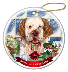 Clumber Spaniel Santa I Can Explain Christmas Ornament