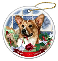 Pembroke Welsh Corgi Santa I Can Explain Dog Christmas Ornament