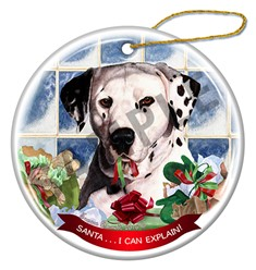 Dalmatian Santa I Can Explain Dog Christmas Ornament