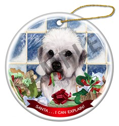 Dandie Dinmont Santa I Can Explain Dog Christmas Ornament