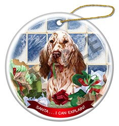 English Setter Santa I Can Explain Christmas Ornament - click for more colors