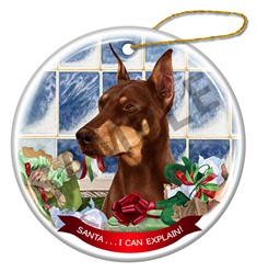 Doberman Santa I Can Explain Dog Christmas Ornament - click for more colors