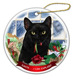 Santa I Can Explain Black Cat Christmas Ornament