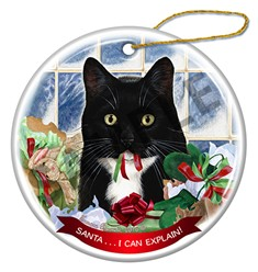 Santa I Can Explain Tuxedo Cat Christmas Ornament