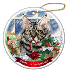 Santa I Can Explain Maine Coon Silver Tabby Cat Christmas Ornament