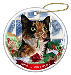 Santa I Can Explain Calico Cat Christmas Ornament