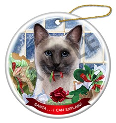 Santa I Can Explain Siamese Blue Point Cat Christmas Ornament