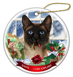 Santa I Can Explain Siamese Seal Point Cat Christmas Ornament