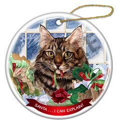 Santa I Can Explain Maine Coon Brown Tabby Cat Christmas Ornament