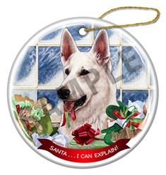 German Shepherd Santa I Can Explain Christmas Ornament - click for breed colors