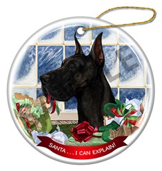 Great Dane Cropped Santa I Can Explain Dog Ornament - click for breed colors