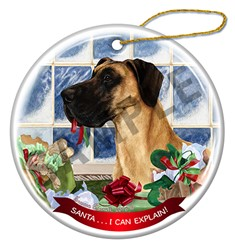 Great Dane Uncropped Santa I Can Explain Ornament - click for more breed colors