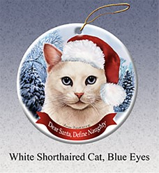 White Cat Dear Santa Cat Christmas Ornament