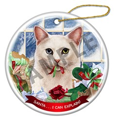 Santa I Can Explain White Odd Eyed Cat Christmas Ornament