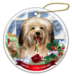 Havanese Santa I Can Explain Christmas Ornament - click for breed colors