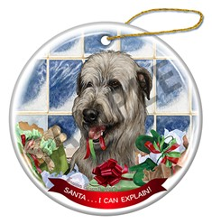 Irish Wolfhound Santa I Can Explain Ornament - click for breed colors