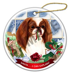 Japanese Chin Santa I Can Explain Christmas Ornament - click for breed colors