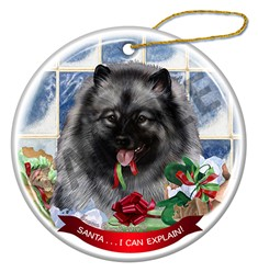 Keeshond Santa I Can Explain Christmas Ornament