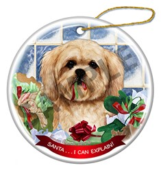 Lhasa Apso Santa I Can Explain Christmas Ornament