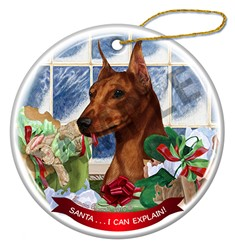 Miniature Pinscher Cropped Santa I can Explain Ornament - click for breed colors