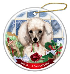 Poodle Santa I Can Explain Dog Christmas Ornament - click for breed colors