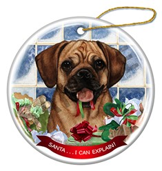 Puggle Santa I Can explain Christmas Ornament