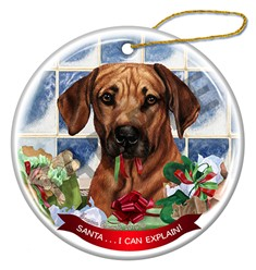 Rhodesian Ridgeback Santa I Can Explain Christmas Ornament