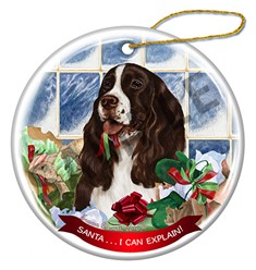 Springer Spaniel Santa I Can Explain Christmas Ornament - click for breed colors