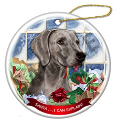 Weimaraner Santa I Can Explain Dog Christmas Ornament