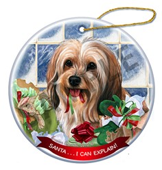 Tibetan Terrier Santa I Can Explain Christmas Ornament