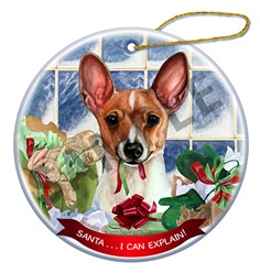 Toy Fox Terrier Santa I Can Explain Christmas Ornament
