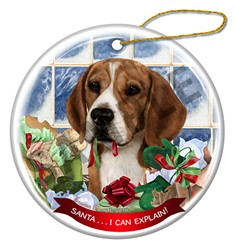 Beagle Santa I Can Explain Dog Christmas Ornament