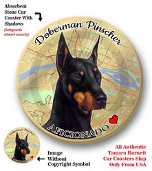 Doberman Pinscher Dog Car Coaster - click for breed colors