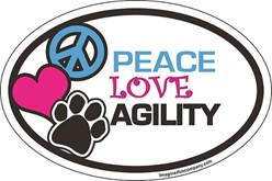 Peace Love Agility Oval Car Magnet